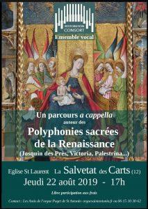 Restoration consort : polyphonies sacrées de la Renaissance @ Eglise Saint-Laurent